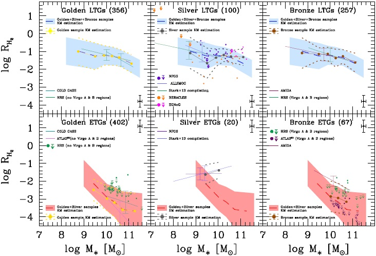The HI and H2-to-stellar mass correlations of late-and early